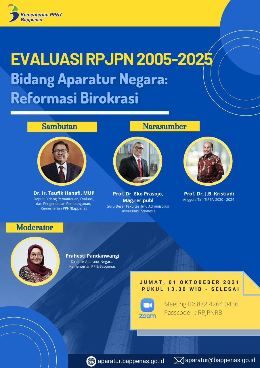 FGD Evaluasi RPJPN 2005-2025 Bidang Aparatur Negara: Reformasi BIrokrasi